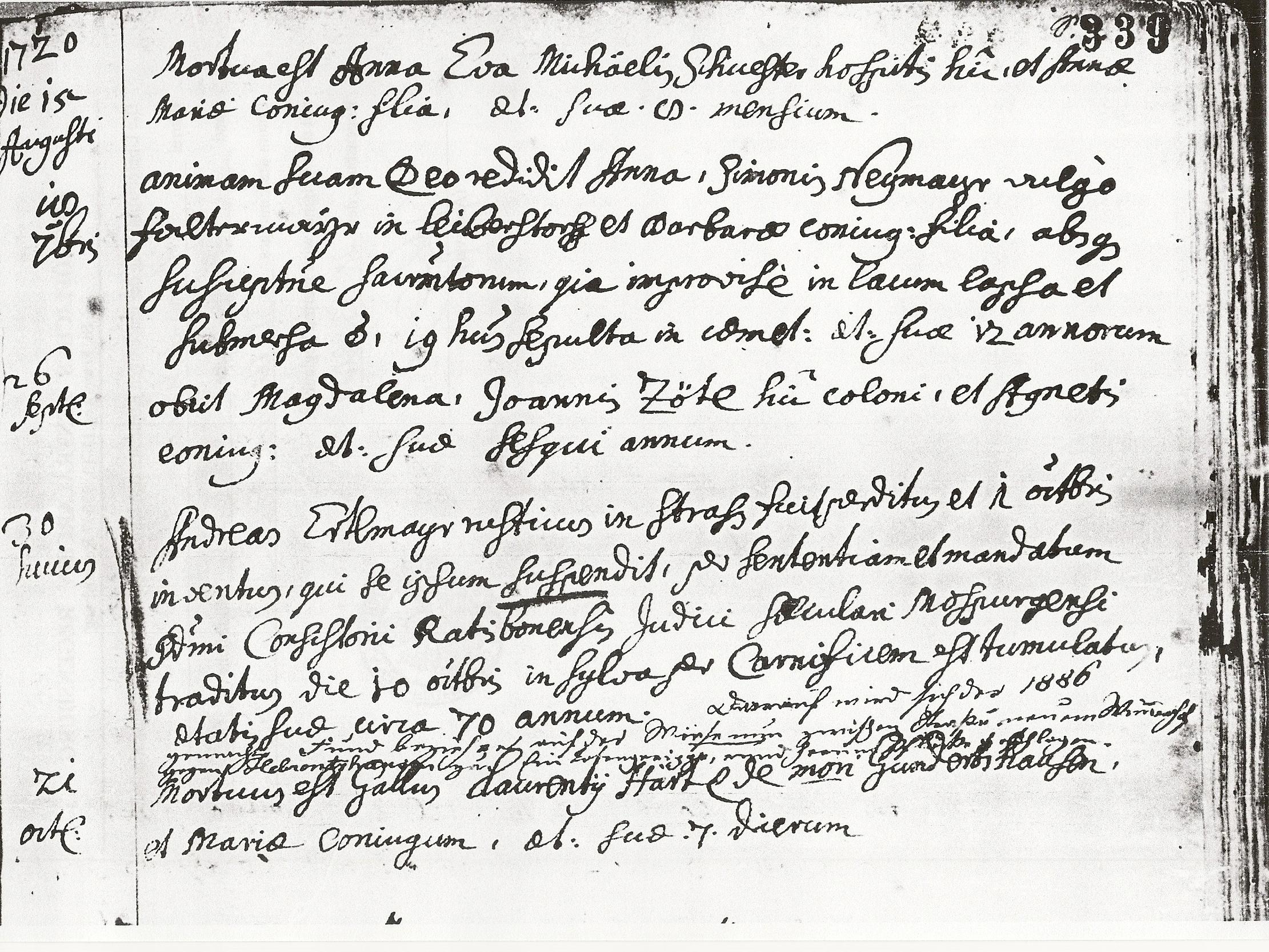 gelöst Sterbeeintrag 1720 in Latein, bitte um Übersetzung ...