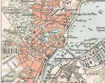 kiel und kieler hafen landkarte 1896 kaiser werft wiker bucht kieler f rde ebay. Black Bedroom Furniture Sets. Home Design Ideas