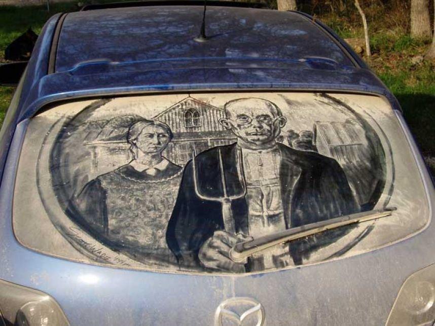 Obrazy na brudnych samochodach 25