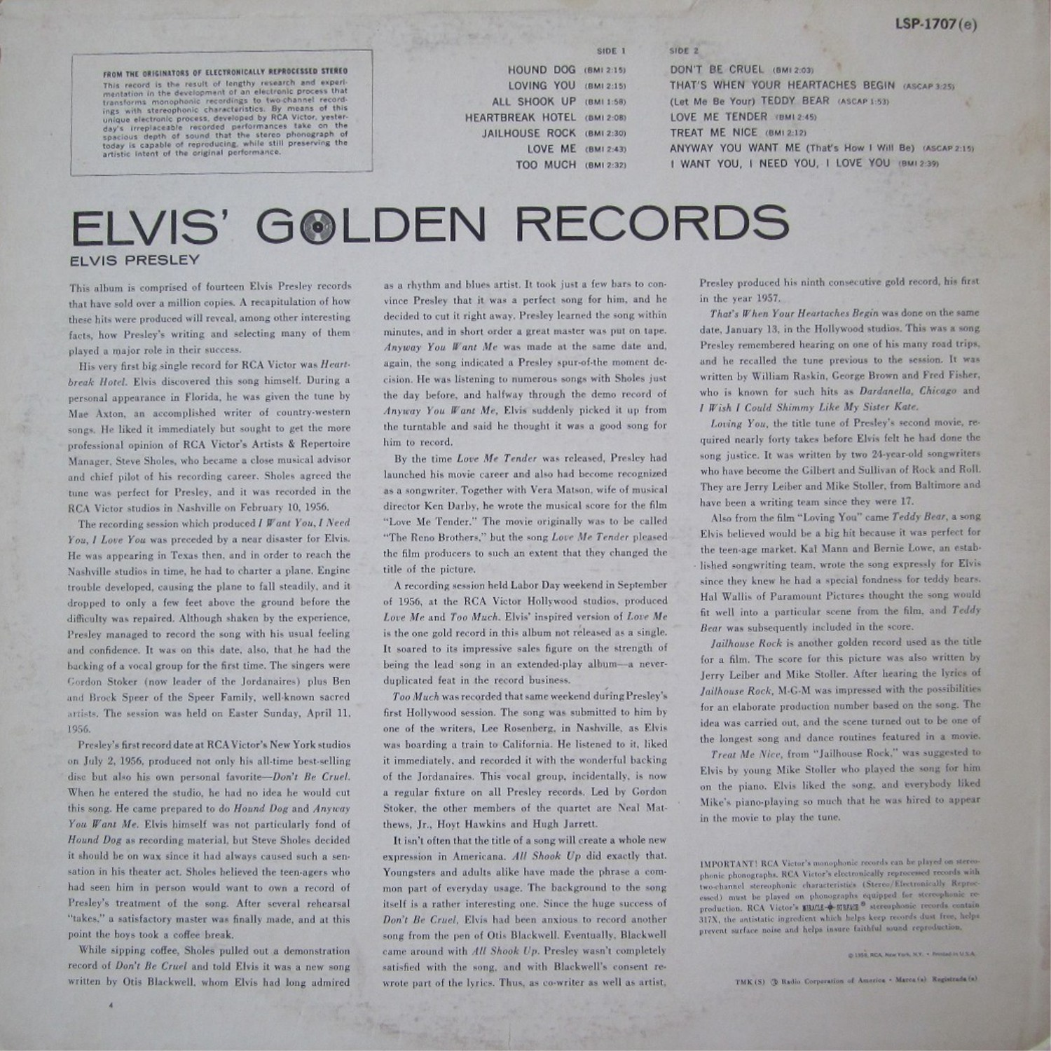 ELVIS' GOLD RECORDS  Lsp1707bk5zad