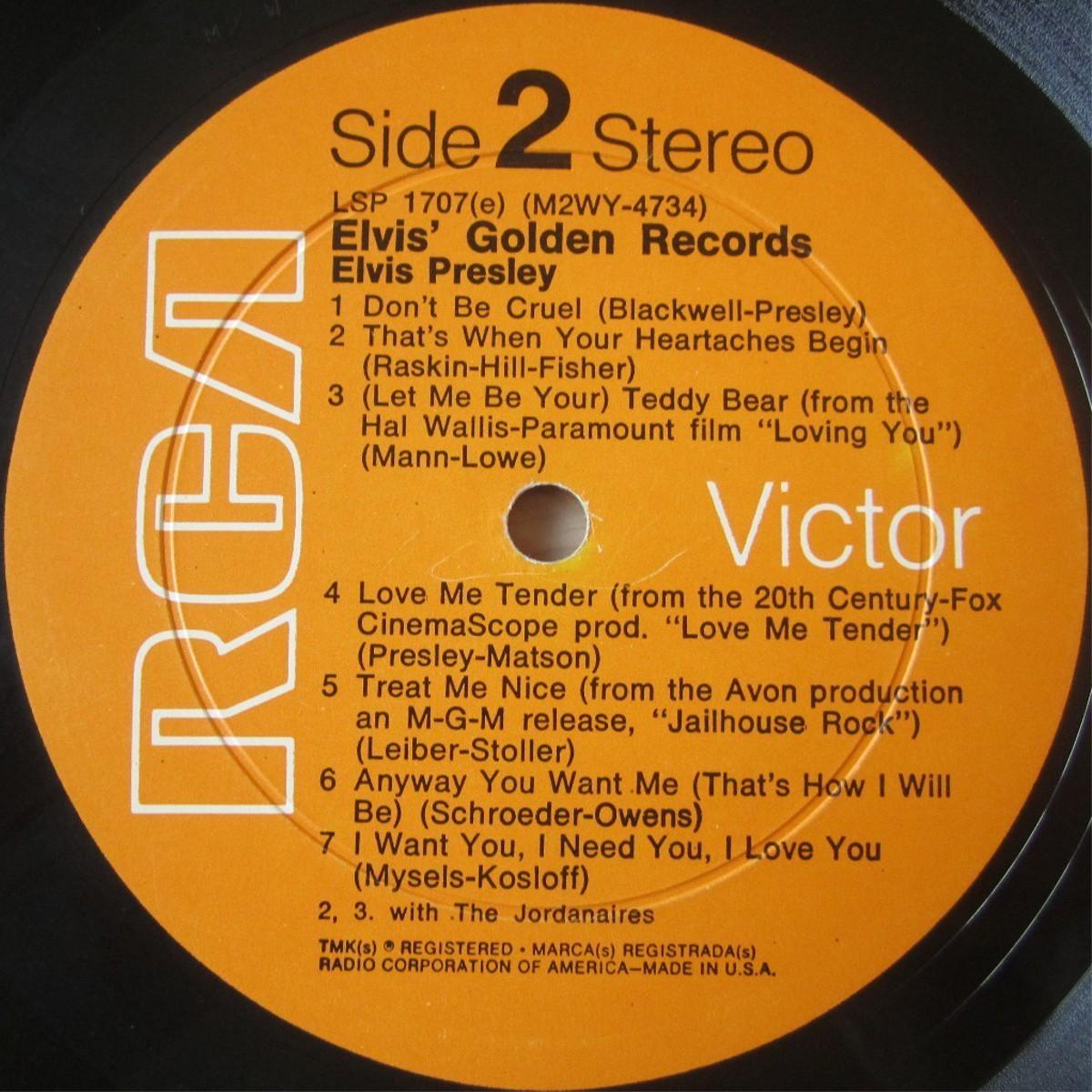 ELVIS' GOLD RECORDS  Lsp1707dkrbvs