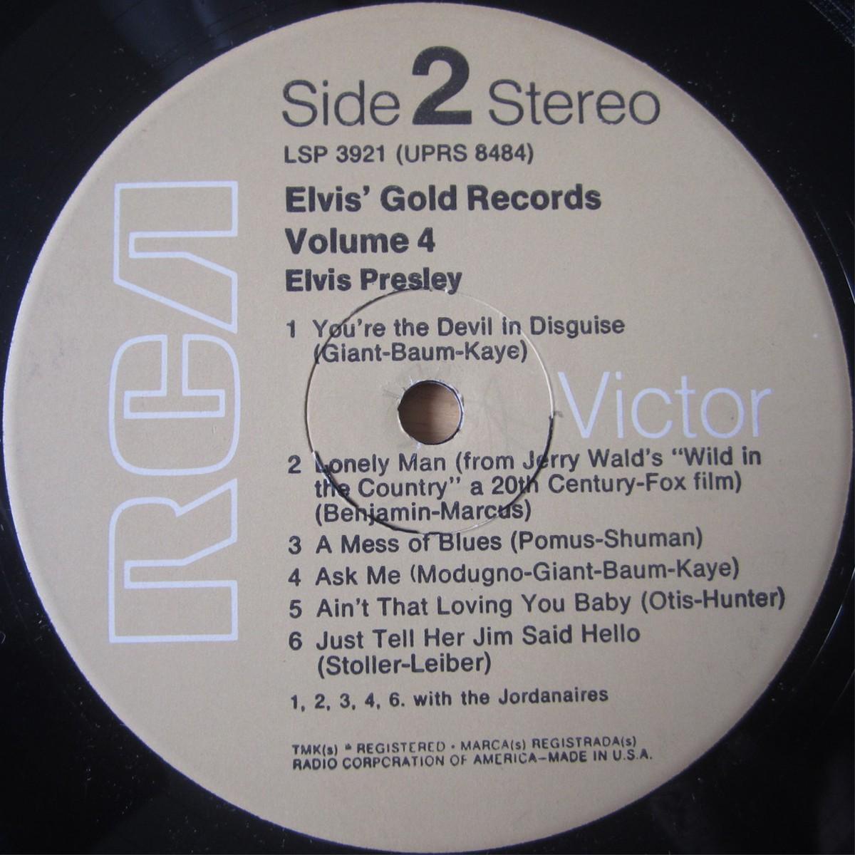 ELVIS' GOLD RECORDS VOL 4 Lsp3921d4ru95