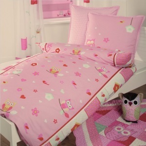 bettw sche bettbezug kopfkissen eule kinder m dchen baumwolle patchwork optik. Black Bedroom Furniture Sets. Home Design Ideas
