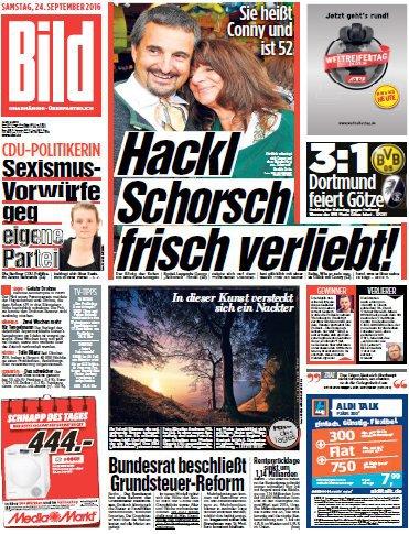 : Bild Zeitung 24 September 2016