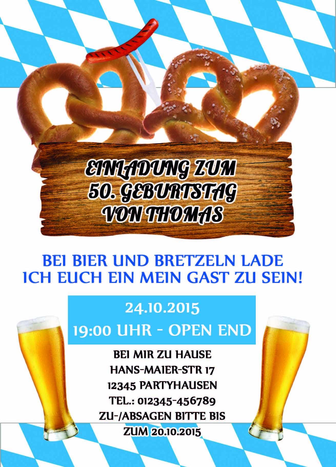 einladung zum 50 geburtstag bayrisch – ledeclairage, Einladung