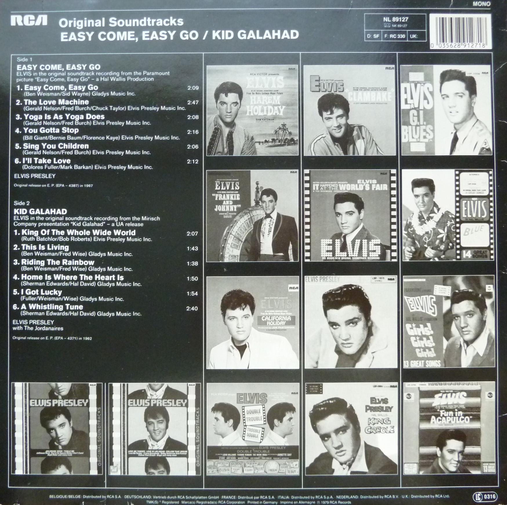 ORIGINAL SOUNDTRACKS: EASY COME EASY GO / KID GALAHAD Originalsoundtrackseas9fze