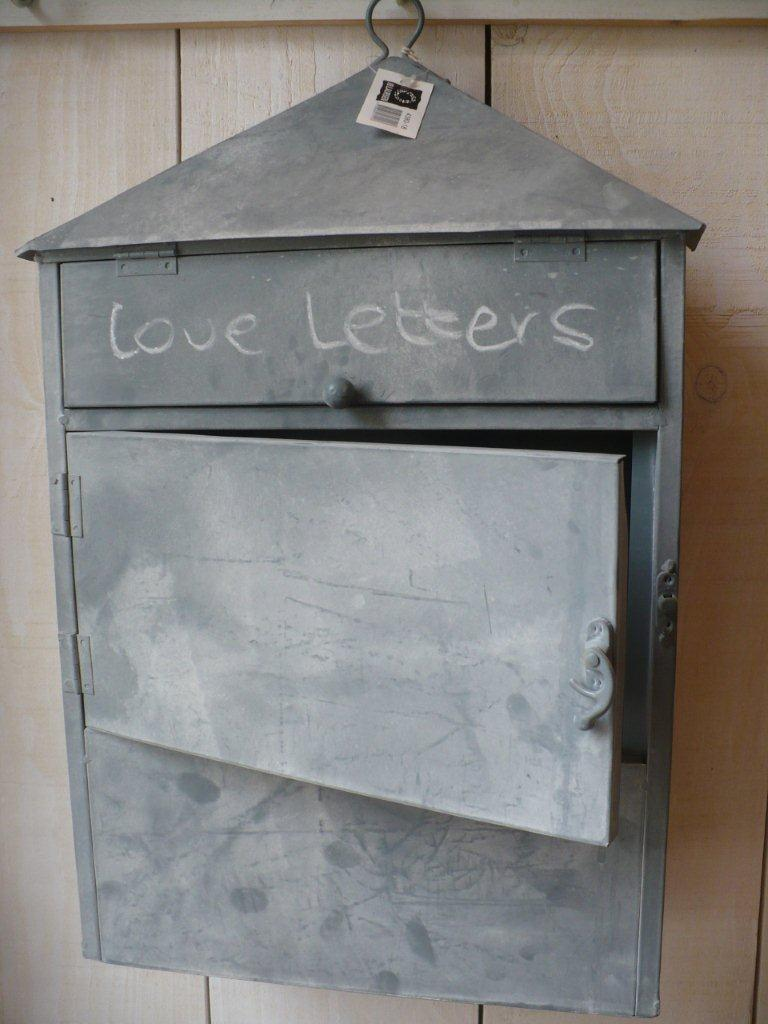 vintage briefkasten briefbox utensilo zink mailbox shabby chic ib laursen ebay. Black Bedroom Furniture Sets. Home Design Ideas