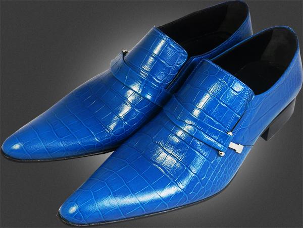 chelsy ausgefallene leder herrenschuhe blaue krokodilschuhe designer slipper 44 ebay. Black Bedroom Furniture Sets. Home Design Ideas