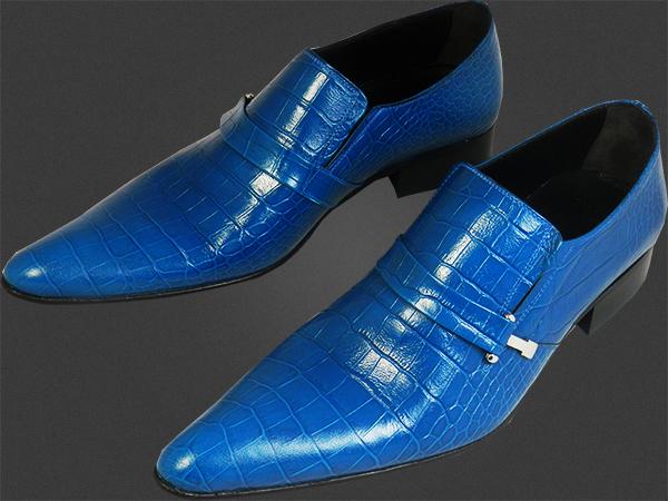 chelsy ausgefallene leder herrenschuhe blaue krokodilschuhe designer slipper 41 ebay. Black Bedroom Furniture Sets. Home Design Ideas