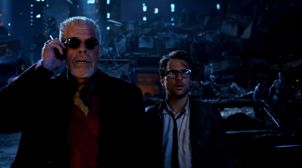 Ron Perlman and Charlie Day in Pacific Rim