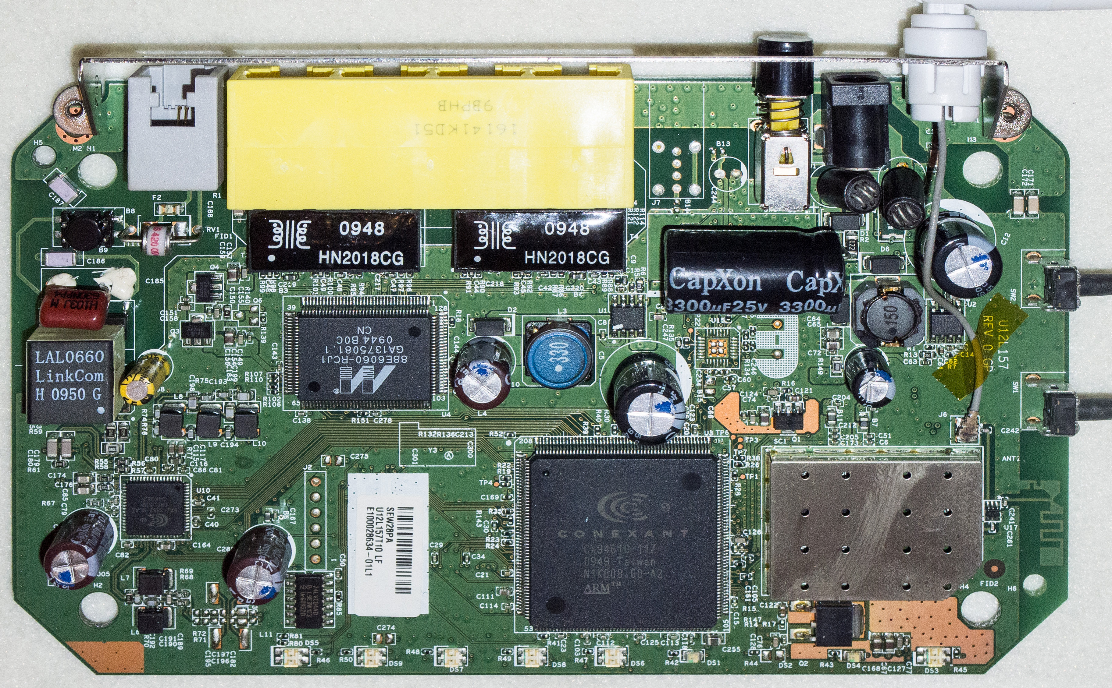 Front side Netgear DG834GB v5 board
