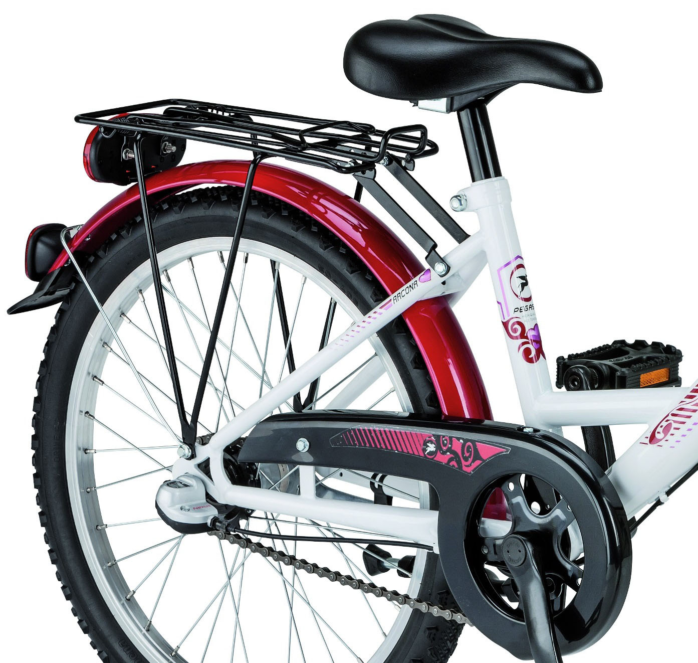 kinder fahrrad pegasus arcona 20 zoll weiss rot pink. Black Bedroom Furniture Sets. Home Design Ideas