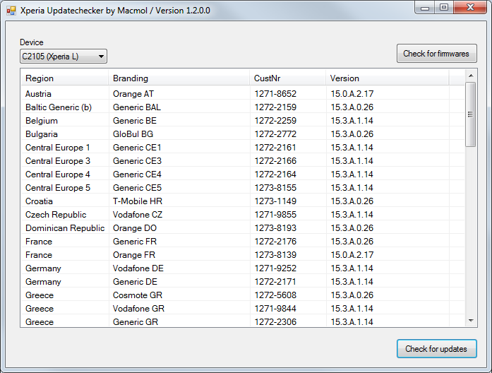 TOOL] Updatechecker Xperia Devices