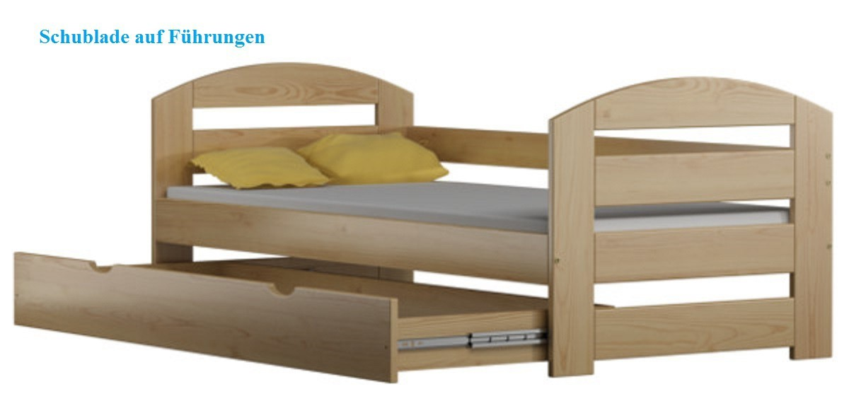 kinderbett tomi 180x80cm massivholz inkl kokosmatratze und schublade. Black Bedroom Furniture Sets. Home Design Ideas