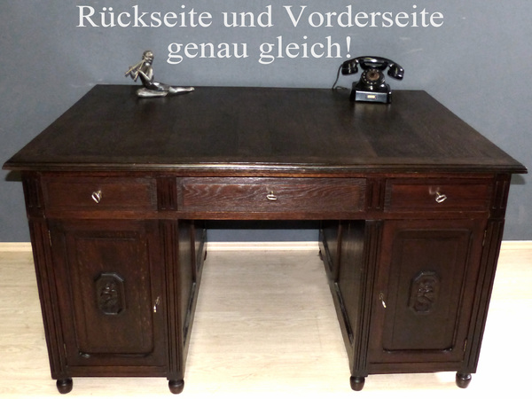 art deco schreibtisch antik eiche partnerdesk b ro sekret r jugendstil tisch. Black Bedroom Furniture Sets. Home Design Ideas