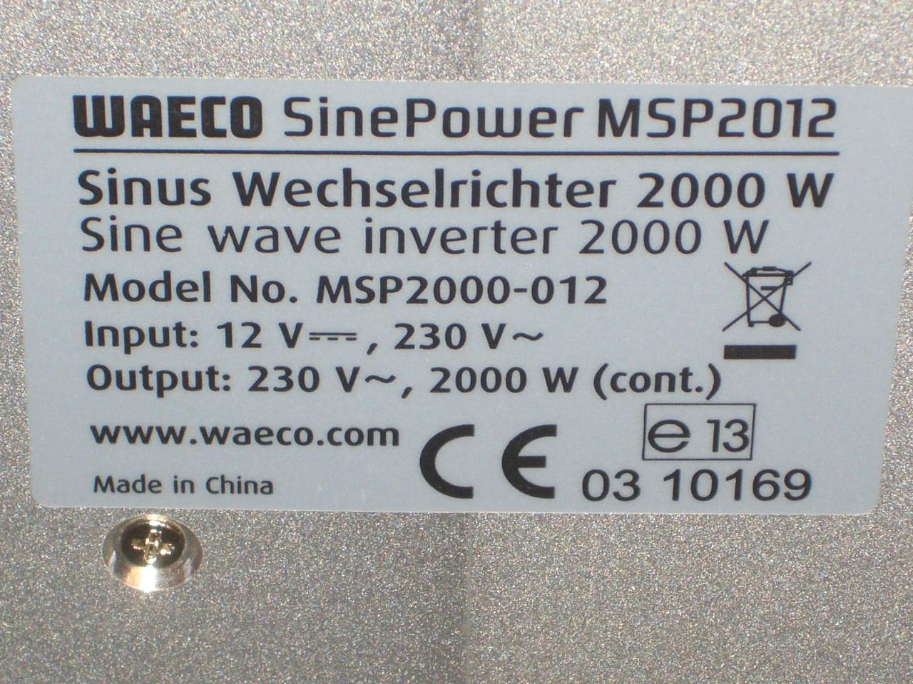 camping waeco sinus wechselrichter inverter sinepower msp 2012 12v 2000 watt ebay. Black Bedroom Furniture Sets. Home Design Ideas