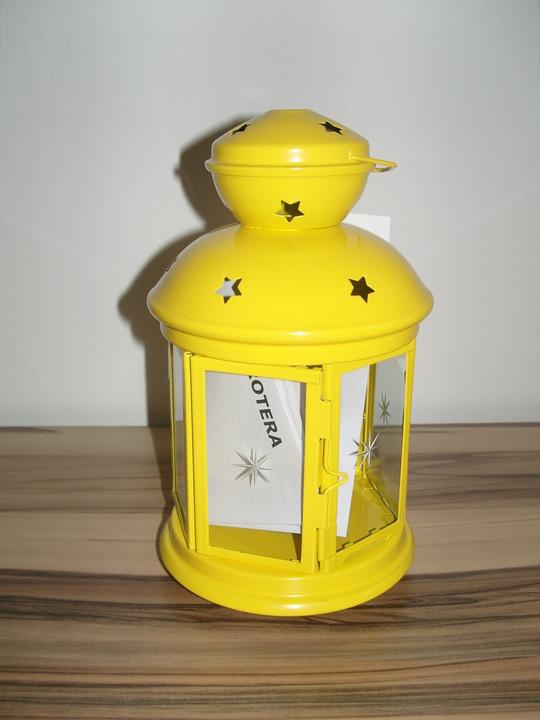 ikea deko laterne windlicht rotera f r teelichter gelb 21cm stahl glas neu ebay. Black Bedroom Furniture Sets. Home Design Ideas