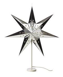 ikea strala tischleuchte lampe leuchte weihnachtsstern stern silber 45cm neu ebay. Black Bedroom Furniture Sets. Home Design Ideas