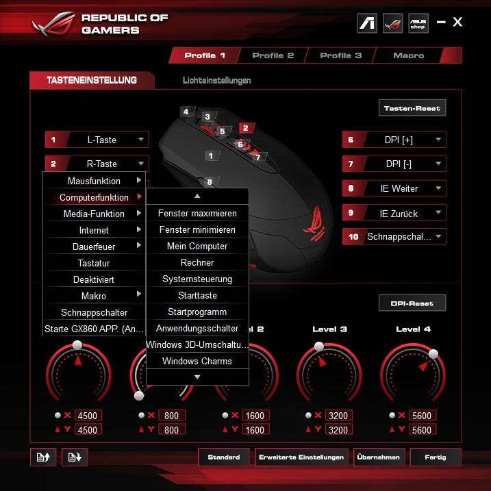 tastenbelegung8vx19 - Asus ROG GX860 Buzzard - Raubvogelmaus oder LED-Brathähnchen