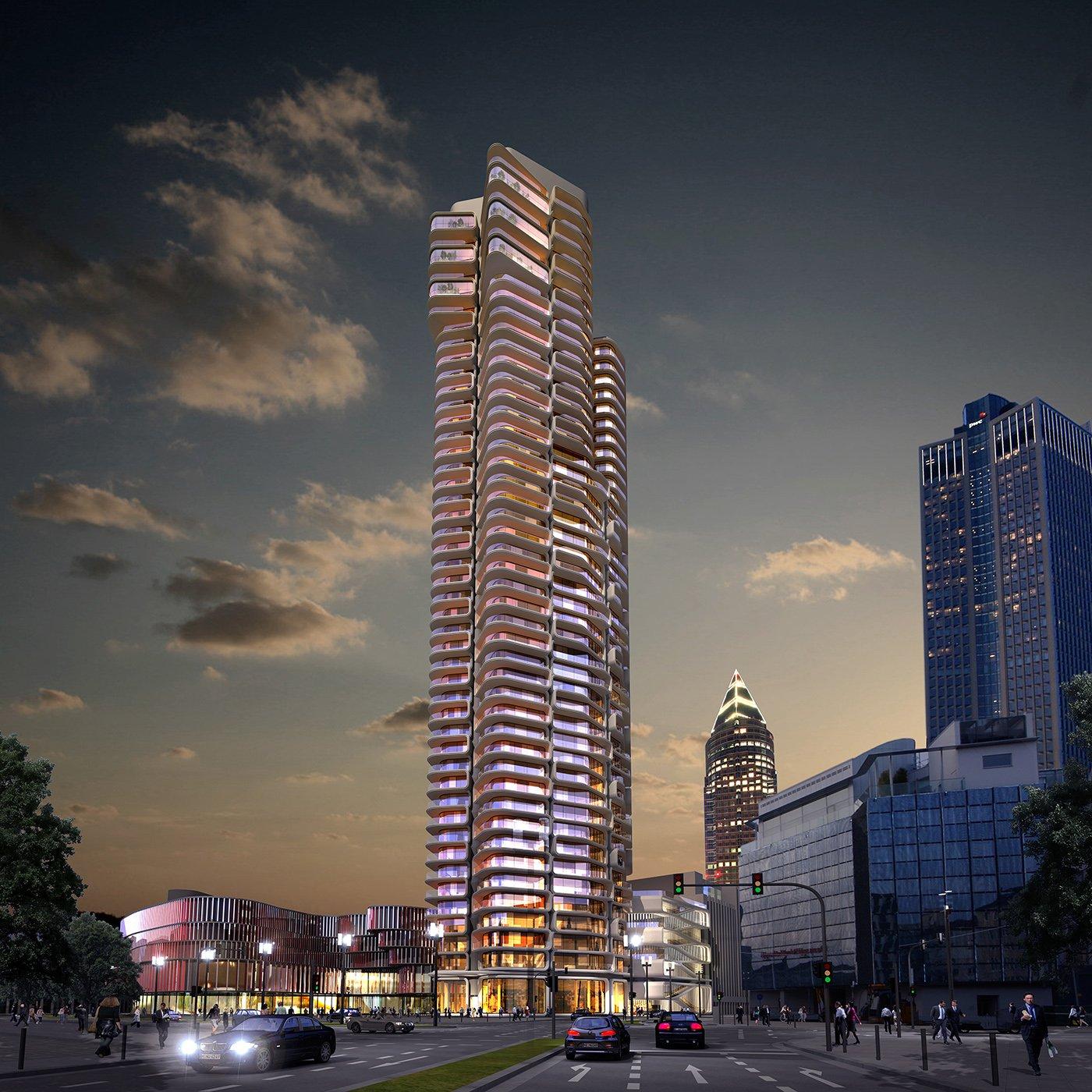 hochhauswelten frankfurt grand tower wohnturm 172m. Black Bedroom Furniture Sets. Home Design Ideas
