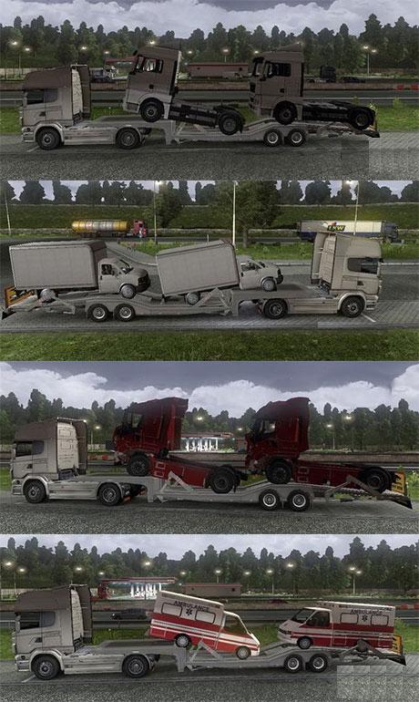 Kärrypaketti [sisältää 4 erilaista ajoneuvon kuljetuskärryä] Transporter-trailershlun7