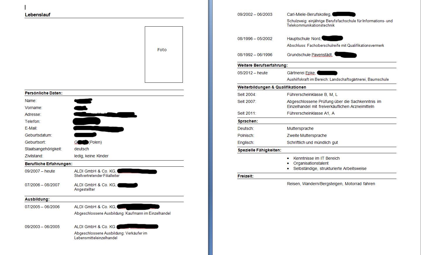 Muster Lebenslauf für Bundesfreiwilligendienst :: Bewerbungsforum