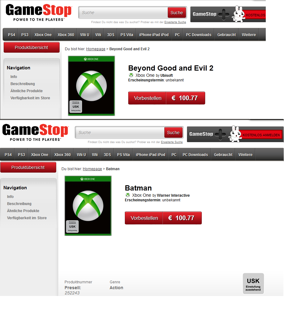 Beyond Good And Evil 2 GameStop Listing