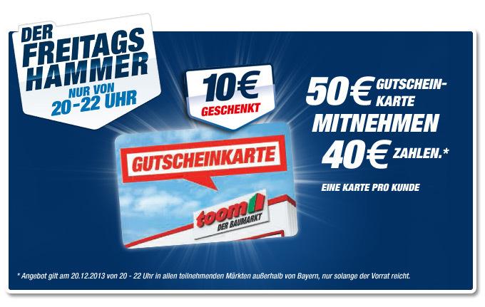 Toom Baumarkt: 50€ Gutscheinkarten für nur 40€ - neu heute Fr. 16.06. von 20-22 Uhr! - offline in den Filialen