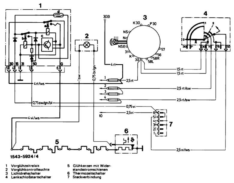 8-Forum :: /8 Technik :: 240 D 3.0 glüht erst vor, wenn Anlasser dreht?