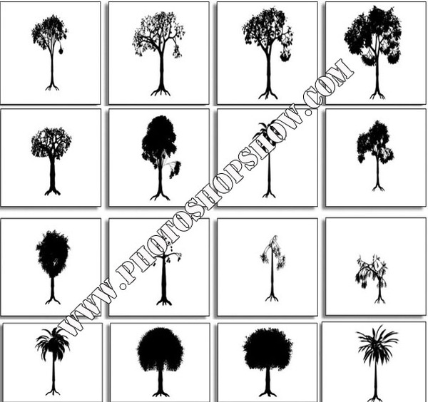 photoshop Live Trees shapes download,