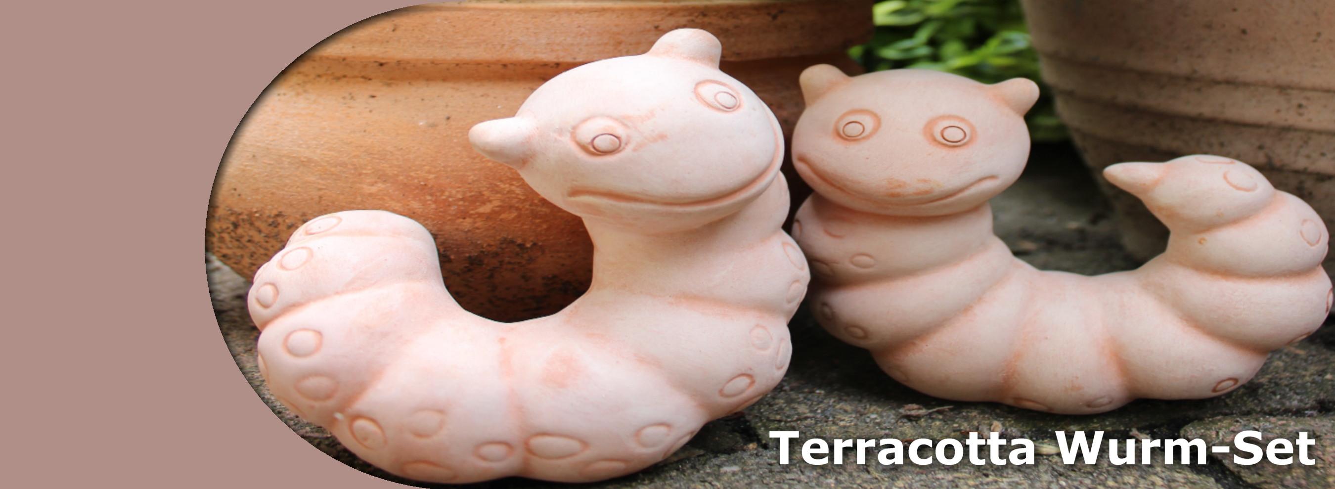 Terracotta wurm set gartendekoration gartendeko dekoration for Terracotta gartendeko