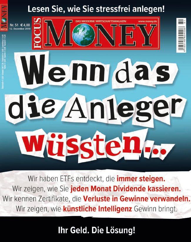 Focus Money Finanzmagazin No 51 vom 12 Dezember 2018