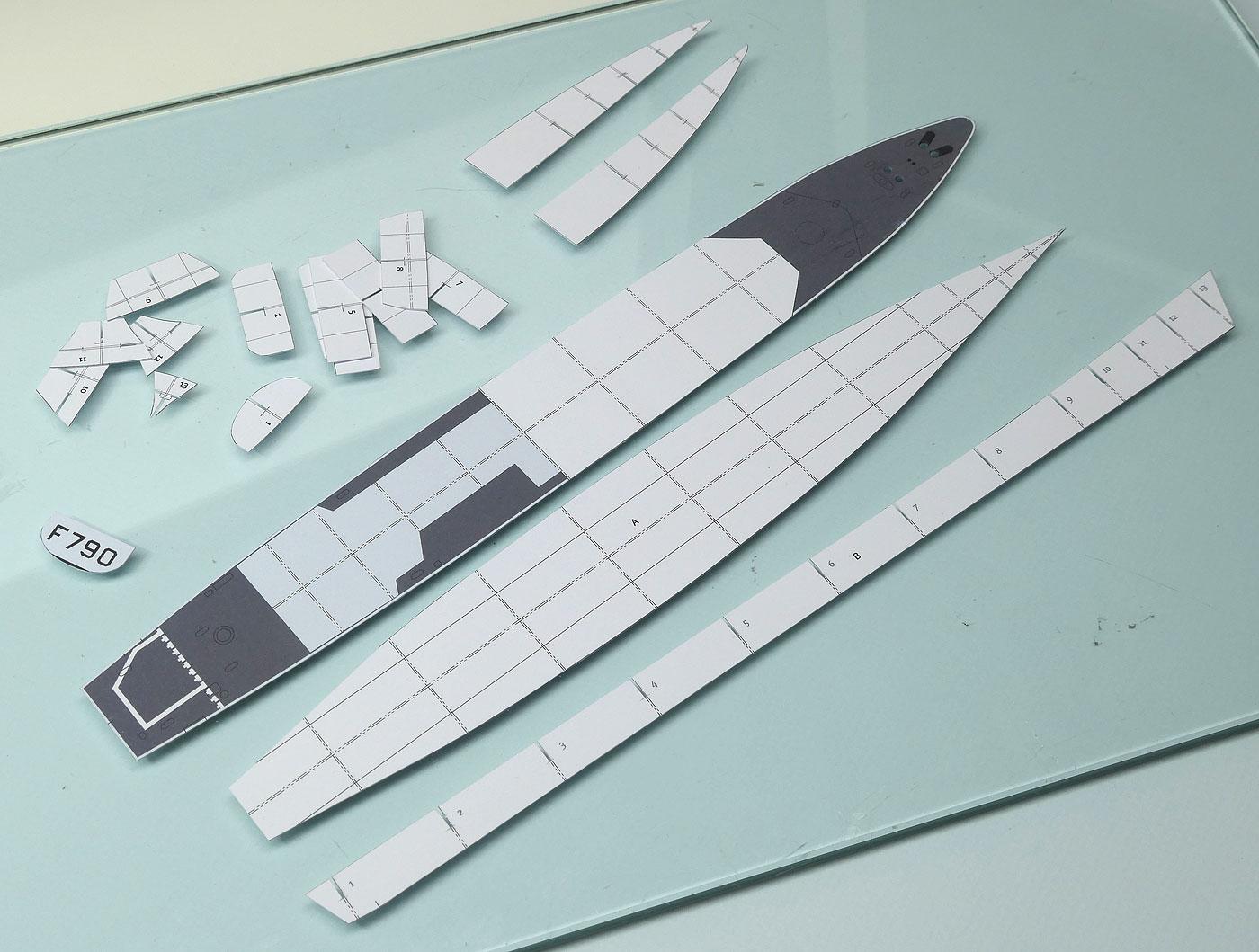 """Aviso A 69 """"Classe d'Estienne d'Orves"""" F790 Lieutenant de vaisseau Lavallée / Propre construction 1: 001-bauteile-rumpfskebhj5z"""