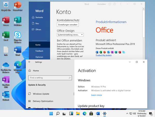Microsoft Windows 11 Professional Build 21996.1 (x64) + Microsoft Office 2019 ProPlus Retail Deutsch