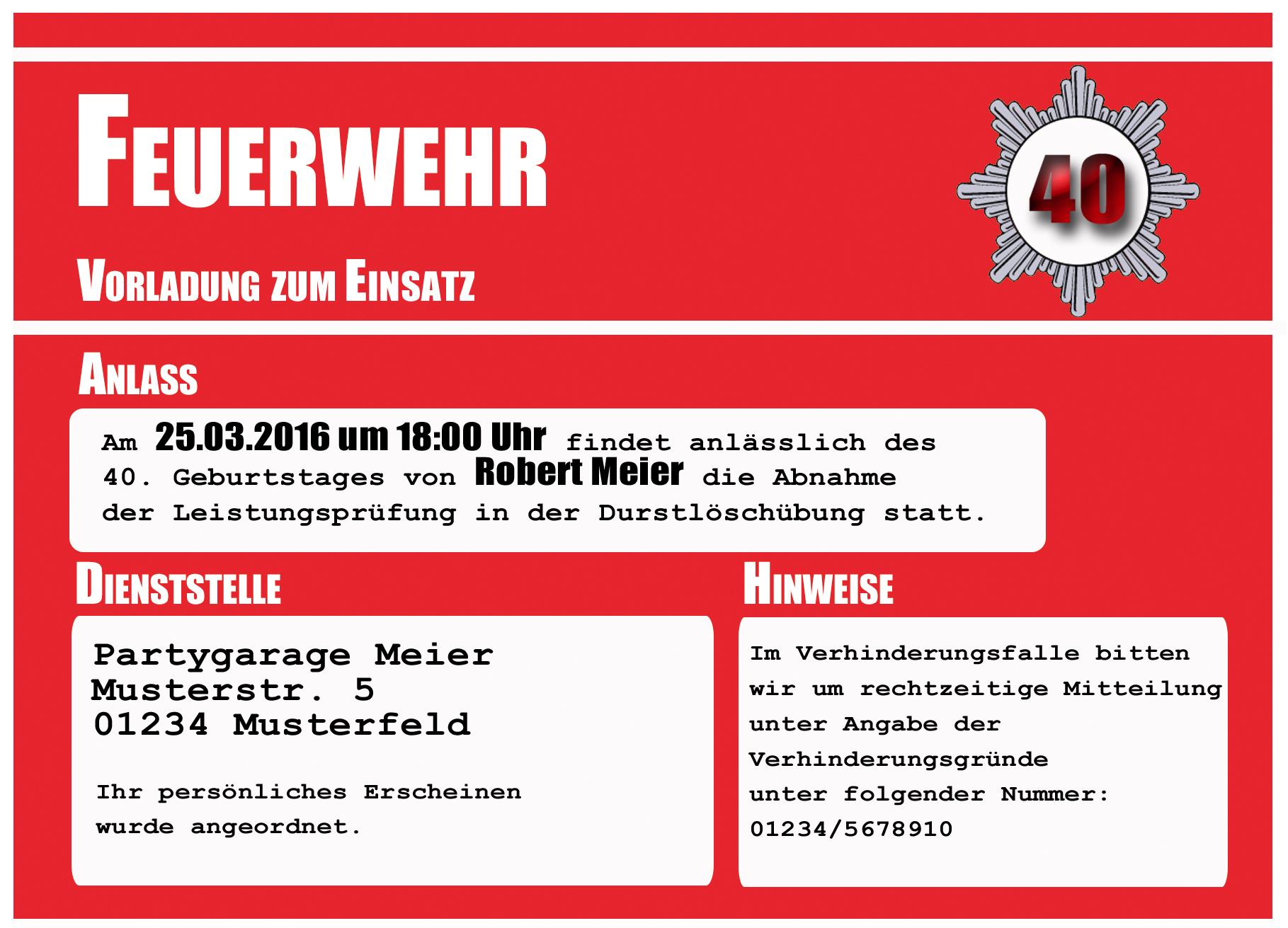 einladungskarten party feuerwehr einladung geburtstagseinladung 18, Einladungen
