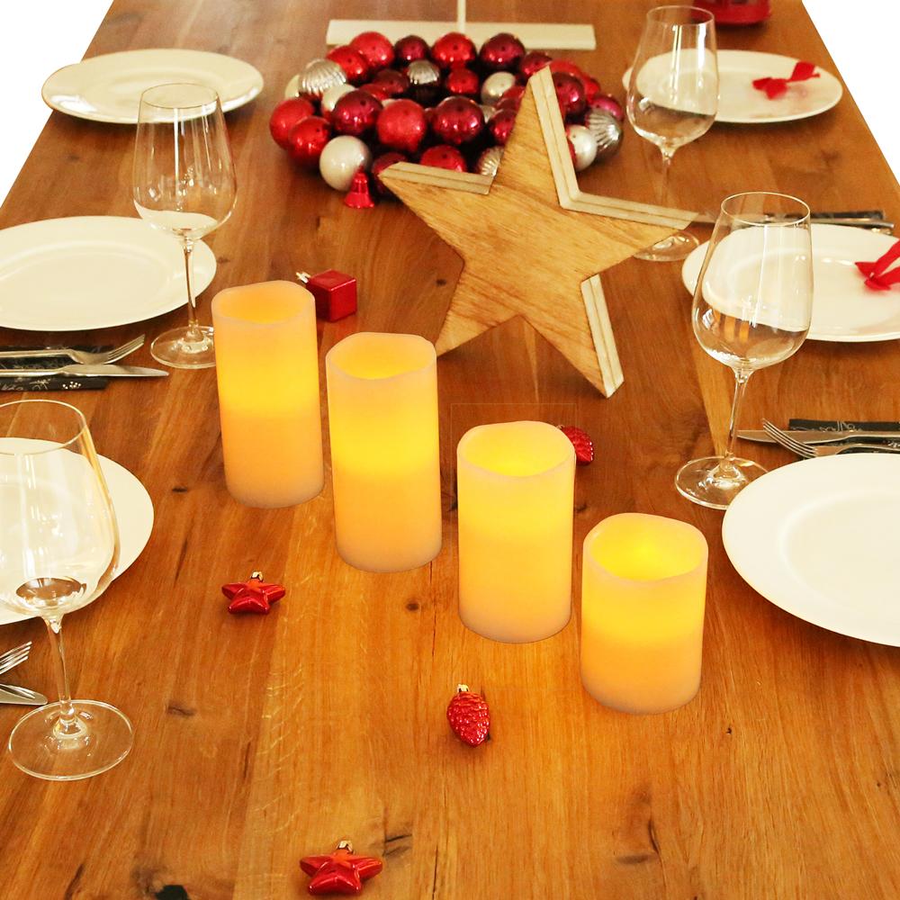 4 led kerzen mit fernbedienung flammenlose echtwachskerzen wachskerzen 4er set ebay. Black Bedroom Furniture Sets. Home Design Ideas