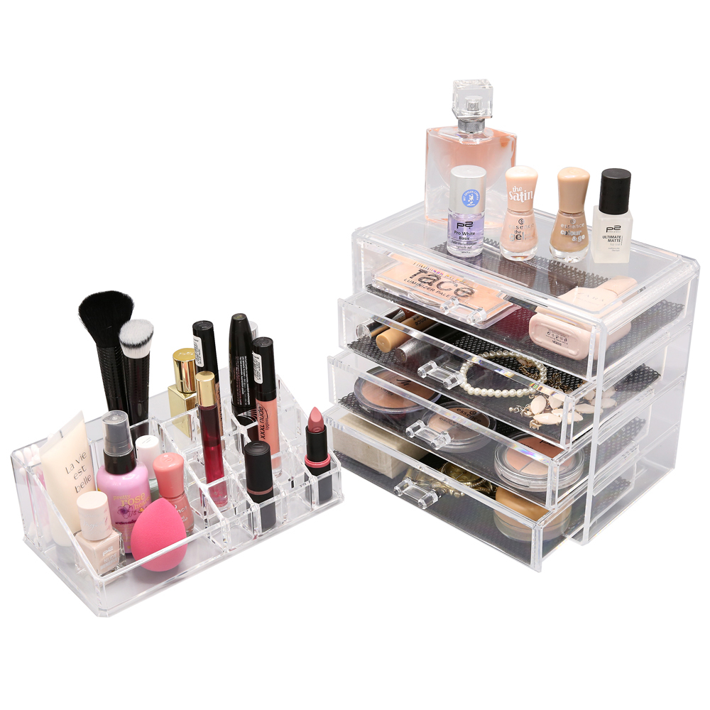 kosmetik organizer make up acryl aufbewahrung beauty kosmetikbox 4 schubladen. Black Bedroom Furniture Sets. Home Design Ideas