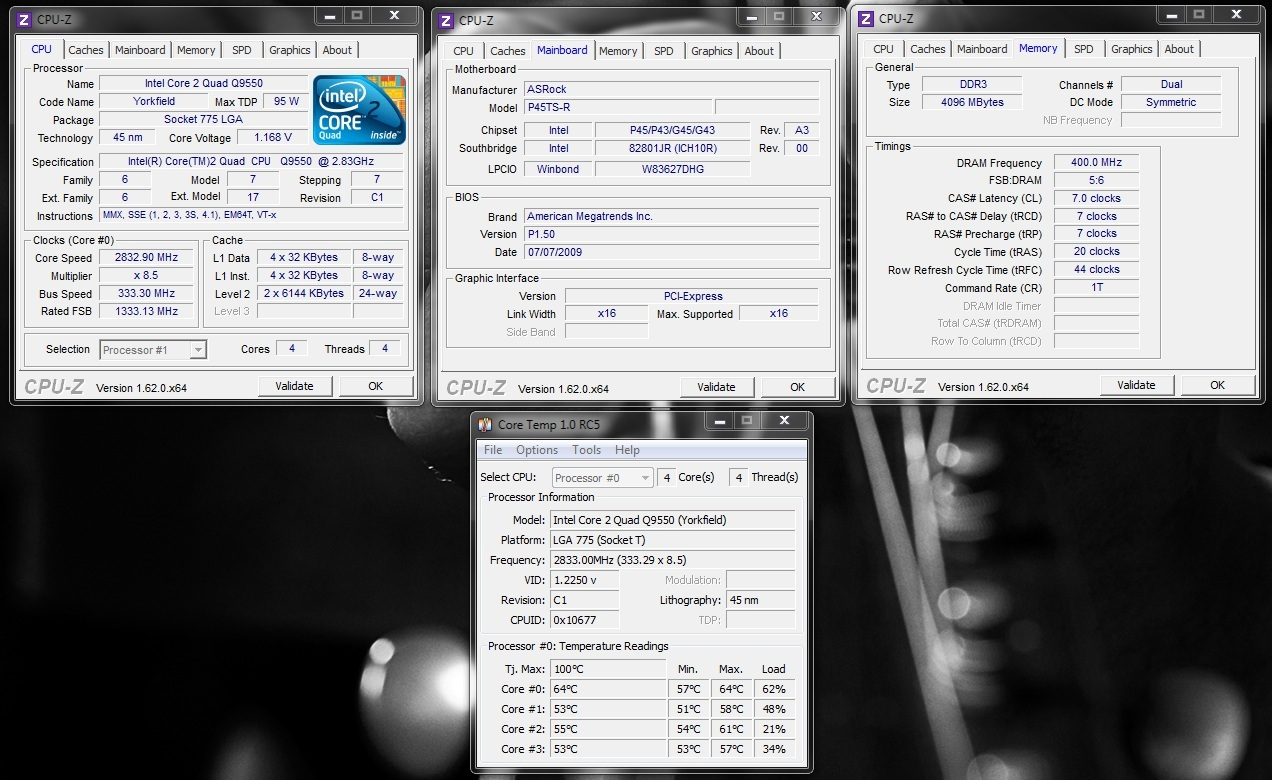 What are the settings needed to Overclocking the Q9550 C1 processor