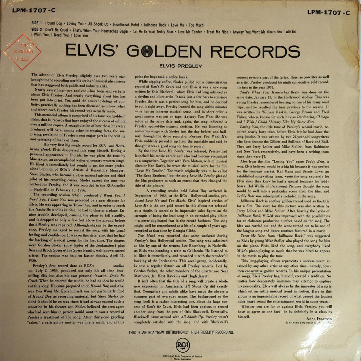 ELVIS' GOLDEN RECORDS 1275yxwx