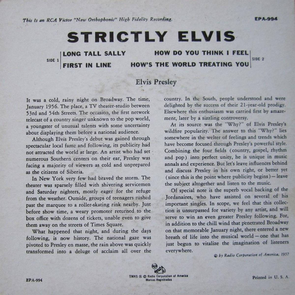 STRICTLY ELVIS 130jcrds