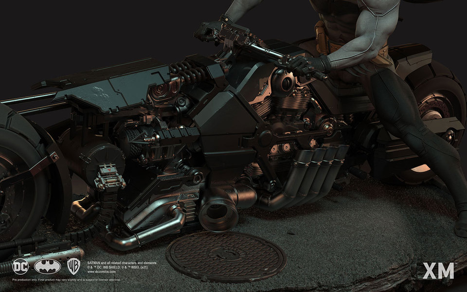 Premium Collectibles : Batman White Knight on Bike1/4 Statue 1534j8o
