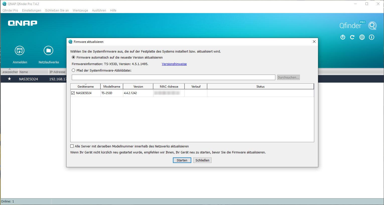 Firmware Update mit Hilfe der Software Qfinder Pro