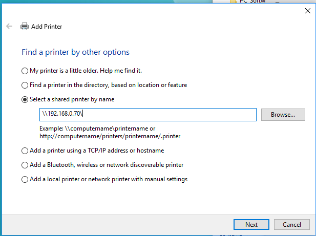 how to connect printer from xp to windows 10
