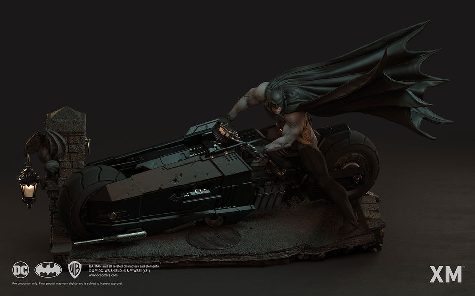 Premium Collectibles : Batman White Knight on Bike1/4 Statue 1xejnu