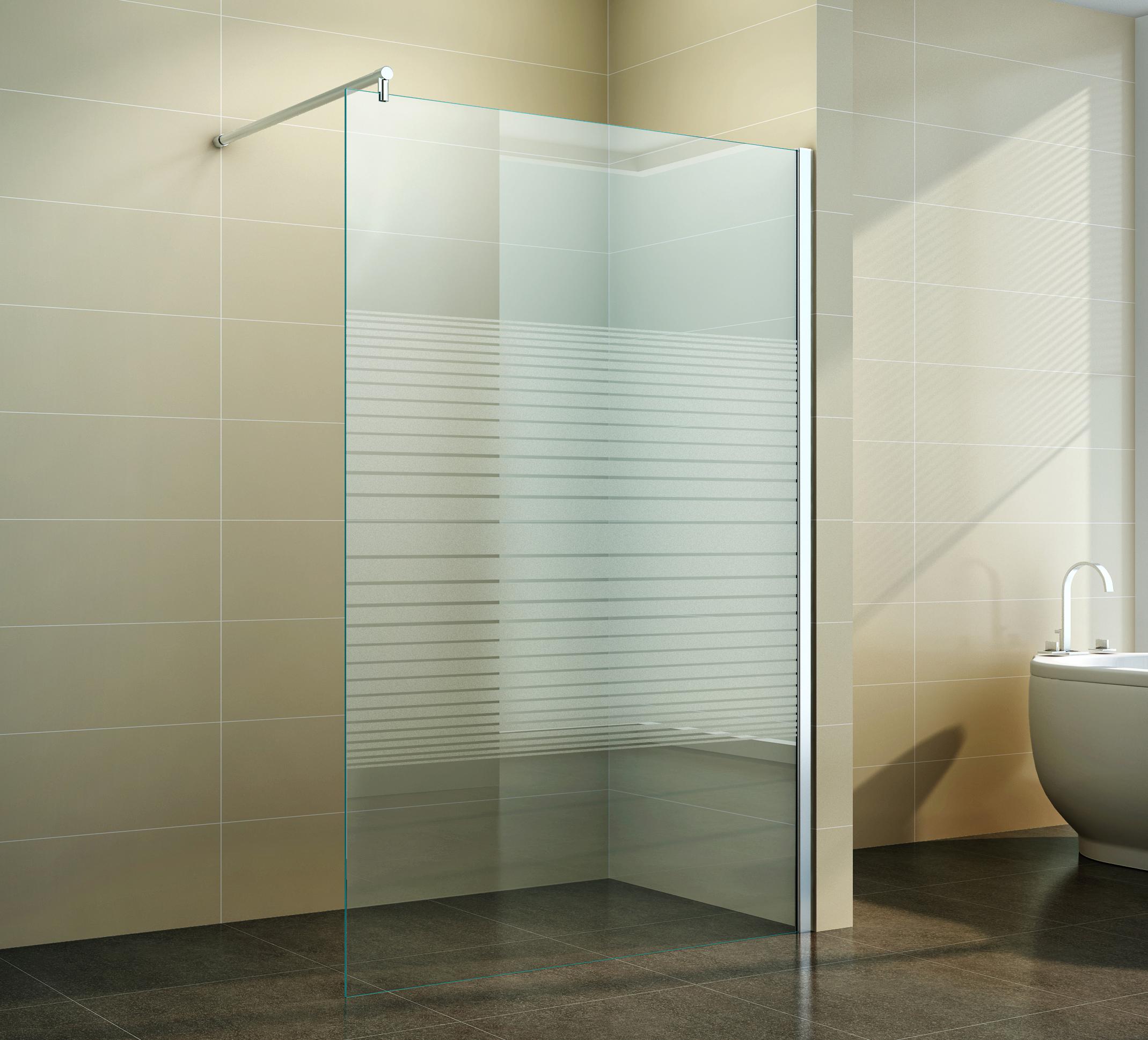 walk in duschabtrennung duschwand seitenwand 40 160 cm milchglas gestreift 10mm ebay. Black Bedroom Furniture Sets. Home Design Ideas