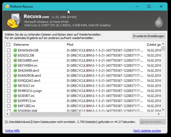 verlorene dateien wiederherstellen freeware