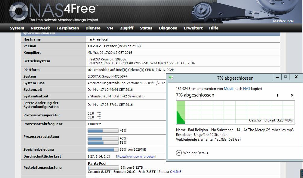 Performance drop in ZFS file transfer - XigmaNAS