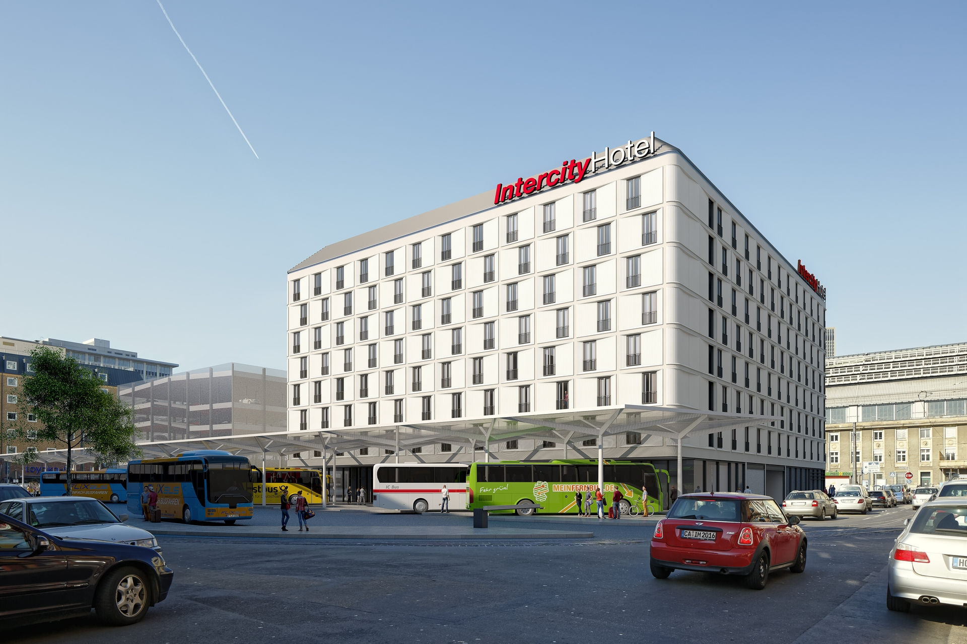 Intercityhotel und bus terminal am hauptbahnhof in bau for Q bus innenarchitektur