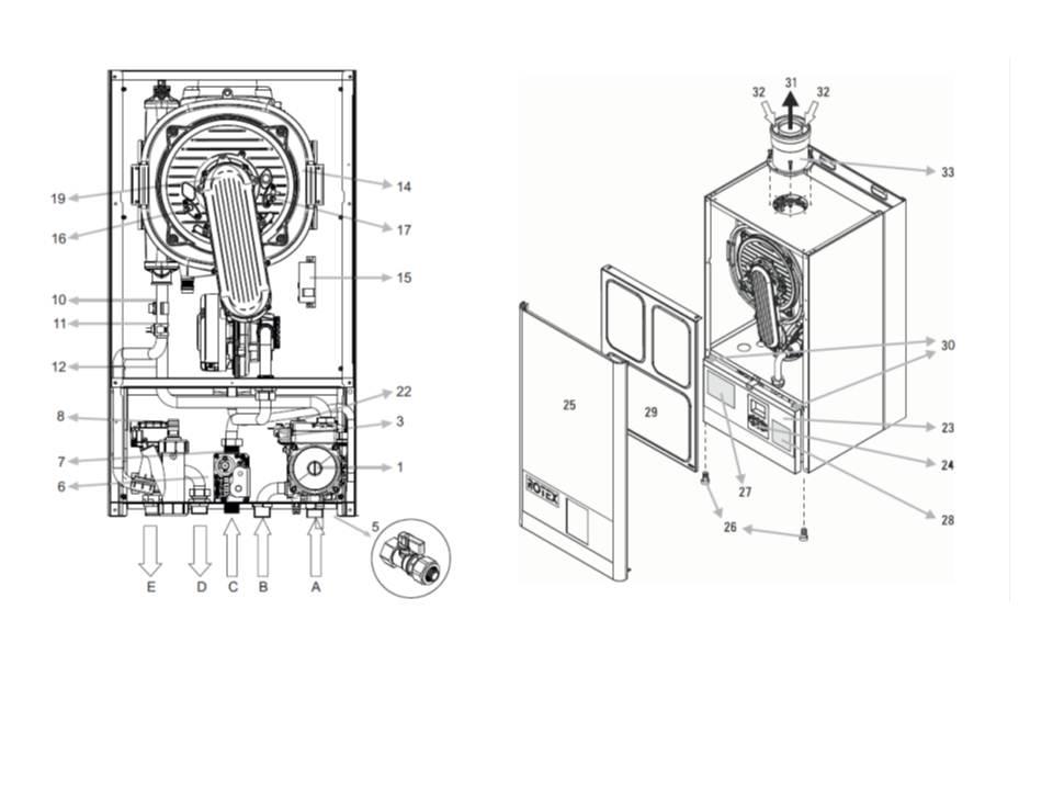rotex gas brennwerttherme brennwert heizung gw 22t gw 26t gw waldbr l. Black Bedroom Furniture Sets. Home Design Ideas