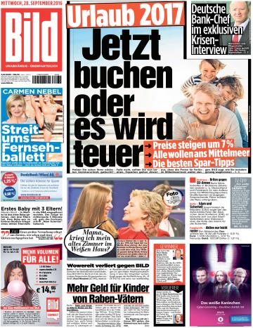 : Bild Zeitung 28 September 2016